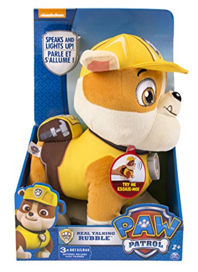 Paw Patrol Deluxe Lights and Sounds Plush - Real Talking Rubble JungleDealsBlog.com