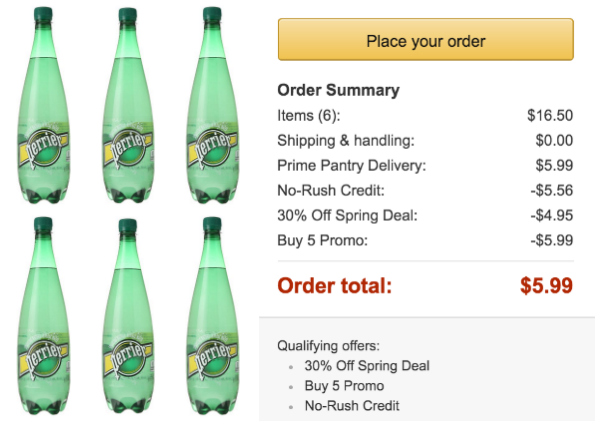 *HOT* Prime Pantry: 6 Large Bottles of Sparkling Mineral Water ONLY $6.99 Shipped w/ No-Rush Shipping Credit!