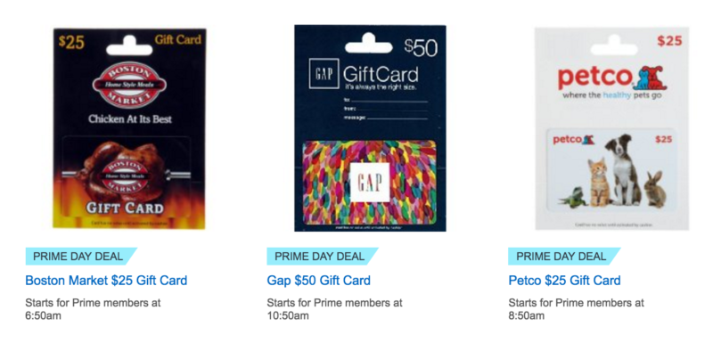 Amazon Prime Day: 20% Off Select Gift Card Lightning Deals!