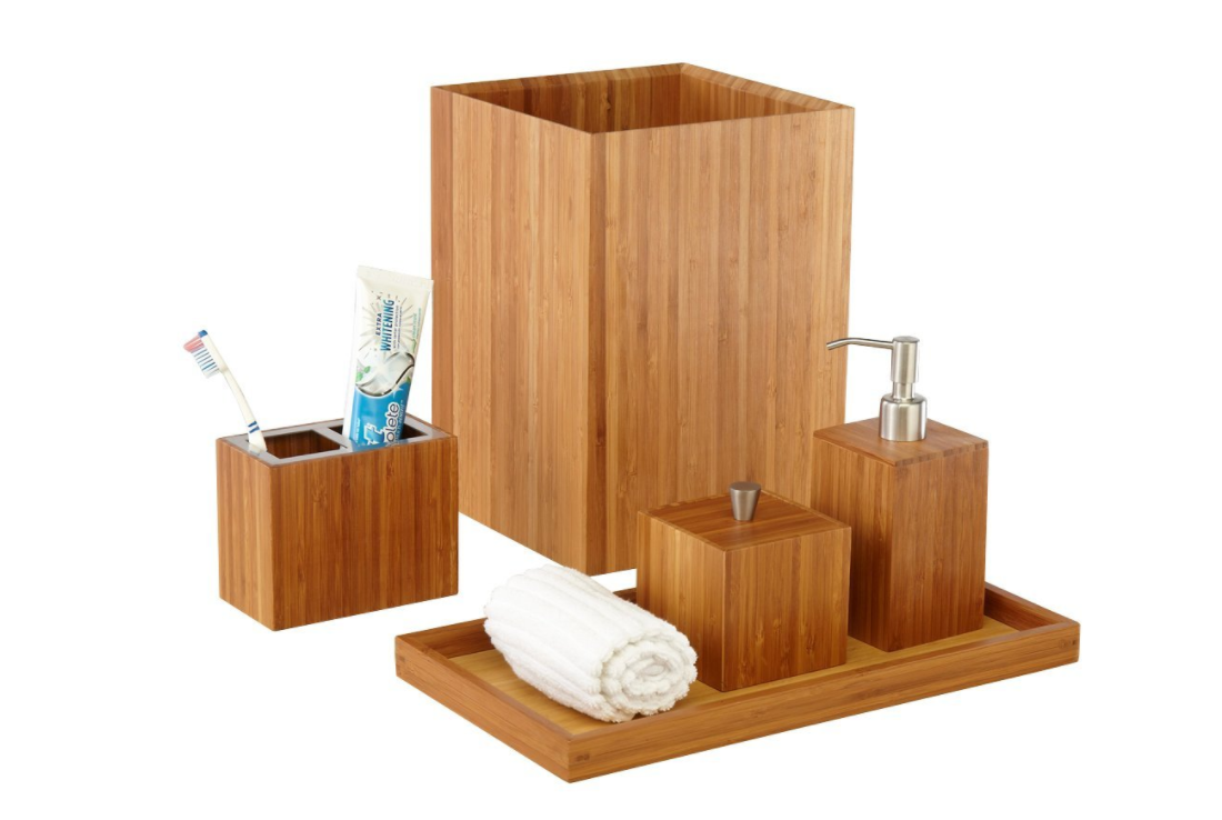 Expired seville classics 5 piece bamboo bath and vanity for Bathroom essentials set