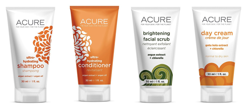 ACURE Essentials Travel Size Kit, Shampoo, Conditioner, Day Cream and Facial Scrub -- $8.28 (reg. $13.99)