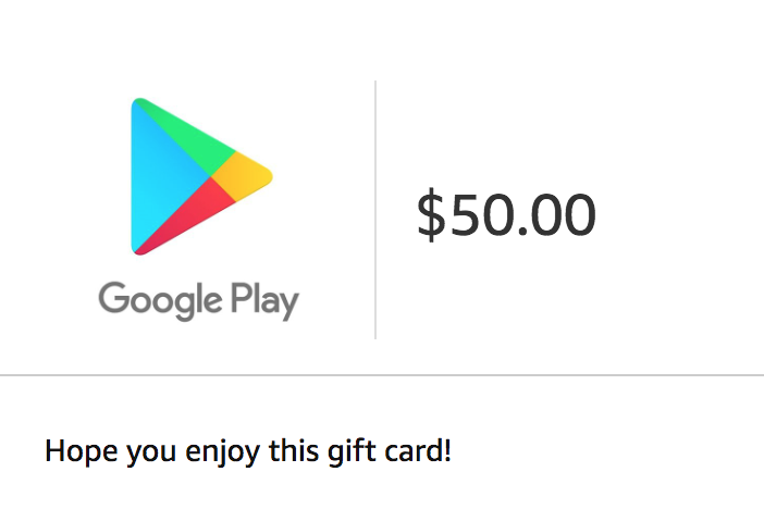 Get a $50 Google Play Email Gift Card for ONLY $45!