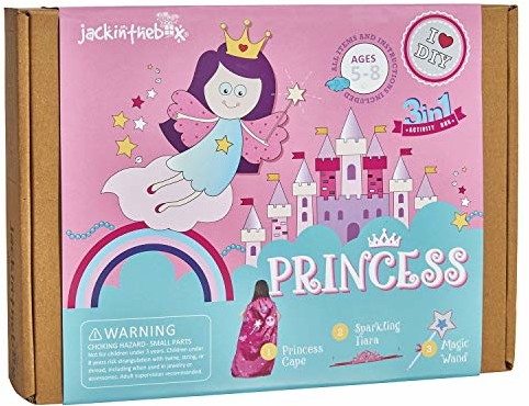 jackinthebox Princess Themed Art and Craft Kit for Girls | 3 Activities-in-1 | Best Girl Gift for Ages 4 to 8 Years | Includes Beautiful Felt and Foam Embellishments (Princess 3-in-1)