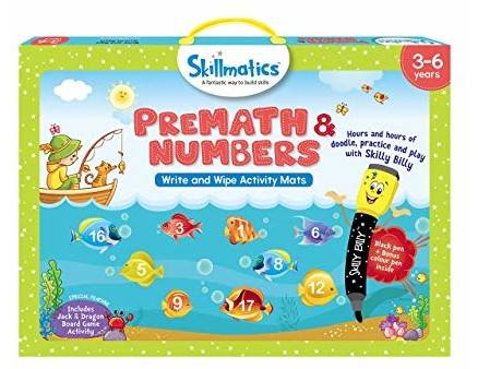 Skillmatics Educational Game: PreMath and Numbers (3-6 Years) | Creative Fun Activities for Kids | Erasable and Reusable Mats