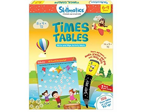 Skillmatics Educational Game: Times Tables (6-9 Years) | Fun Learning Games and Activities for Kids | Erasable and Reusable Mats