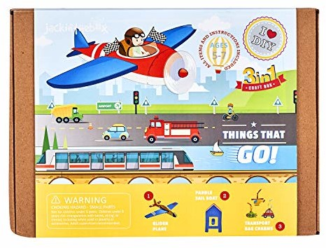 jackinthebox Things That Go Themed Craft Kit and Educational Toy for Boys and Girls | 3 Activities-in-1 Kit | Great Gift for Boys Aged 7-10 Years Old | Learning Stem Toys (Things That Go 3-in-1)