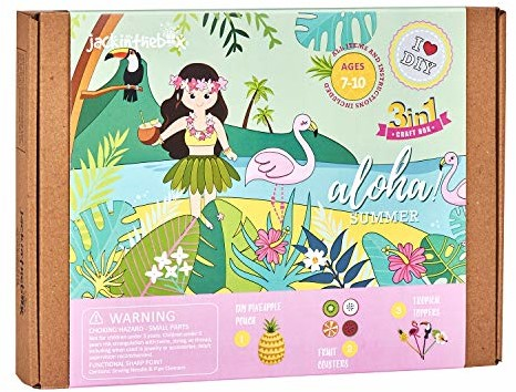 jackinthebox Hawaiian Tropical Themed Craft Kit | Includes Beautiful Felt Pineapple Sewing Kit | 3 Different Crafts-in-1 | Best Gift for Girls Ages 6 to 10 Years (3-in-1) (Aloha Summer 3-in-1)