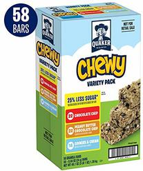 Quaker Chewy Granola Bars, 25% Less Sugar 3 Flavor Variety Pack (58 Bars)