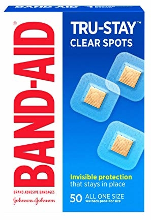 Band-Aid Brand Tru-Stay Clear Spots Bandages for Discreet First Aid, All One Size, 50 Count