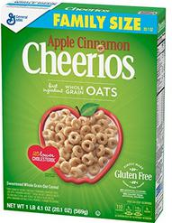 Apple Cinnamon Cheerios Gluten Free, Cereal, Family Size, 20.10 Oz