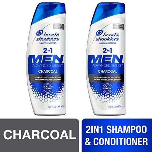 Head and Shoulders Shampoo and Conditioner 2 in 1, Anti Dandruff Treatment, Charcoal for Men, 12.8 fl oz, Twin Pack