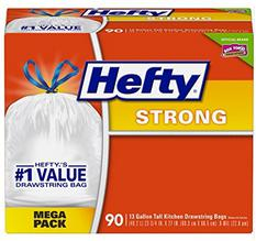 Hefty Strong Tall Kitchen Trash Bags - 13 Gallon, 90 Count