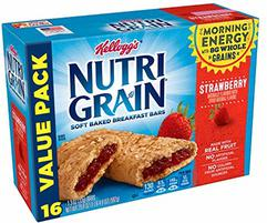 Kellogg's Nutri-Grain, Soft Baked Breakfast Bars, Strawberry, Made with Whole Grain, Value Pack, 3 Packages of 20.8 oz (16 Count)