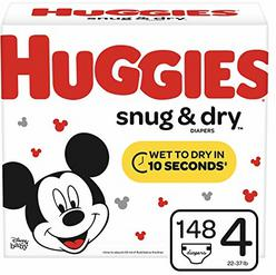 Huggies Snug & Dry Baby Diapers, Size 4 (fits 22-37 lb.), 148 Count, Giant Pack (Packaging May Vary)