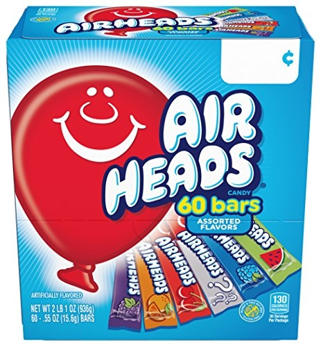 Airheads Bars Chewy Fruit Candy, Variety Pack, Party, Non Melting, 60 Count Packaging May Vary