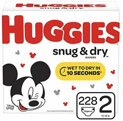 Huggies Snug & Dry Baby Diapers, Size 2 (fits 12-18 lb.), 228 Count, ONE MONTH SUPPLY (Packaging May Vary)