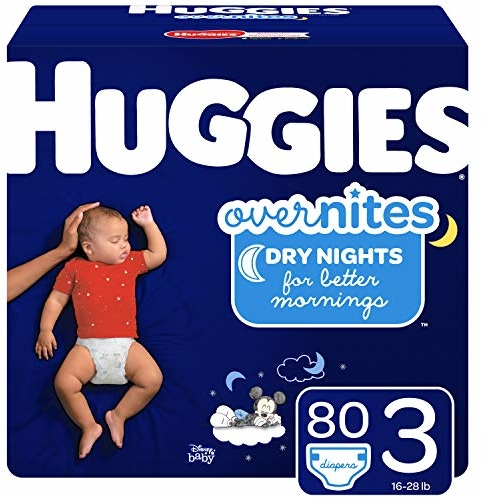 HUGGIES OverNites Diapers, Size 3, 80 ct., Overnight Diapers (Packaging May Vary)