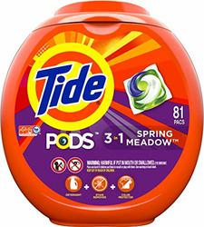 Tide PODS 3 in 1 HE Turbo Laundry Detergent Pacs, Spring Meadow Scent, 81 Count Tub -