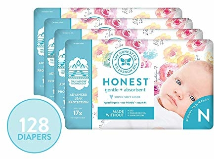 The Honest Company Diapers - Newborn Diapers, Size 0 - Rose Blossom Print | TrueAbsorb Technology | Plant-Derived Materials | Hypoallergenic | 32 Count  (Pack of 4)