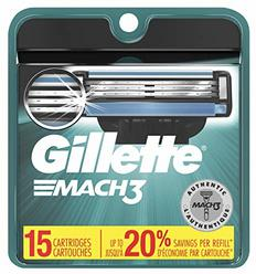 Gillette Mach3 Men's Razor Blade Refills, Mens Razors / Blades, 15 Count (Packaging May Vary)