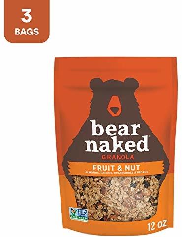 Bear Naked Fruit & Nut Granola - Non-GMO Project Verified, Kosher Pareve, Vegetarian Breakfast Cereal - 12oz Bag (3 Pack)