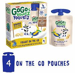 GoGo squeeZ YogurtZ, Banana, 3 Ounce (4 Pouches), Low Fat Yogurt, Gluten Free, Healthy Snacks, Recloseable, BPA Free Pouches