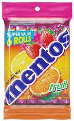 Mentos Chewy Mint Candy Roll, Fruit, Non Melting, 1.32 ounce/14 Pieces (Pack of 6)