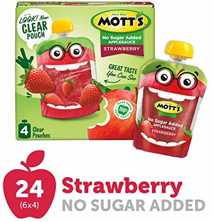 Mott's Unsweetened Strawberry Applesauce, 3.2 Ounce Pouch, 4 Count (Pack of 6)