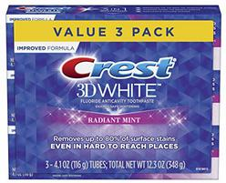 Crest 3D White Toothpaste Radiant Mint (3 Count of 4.1 oz Tubes), 12.3 oz