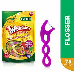 GUM Crayola Twistables Flossers, Fluoride Coated, Twisted Fruit Flavors, Ages 3+, 75 Count