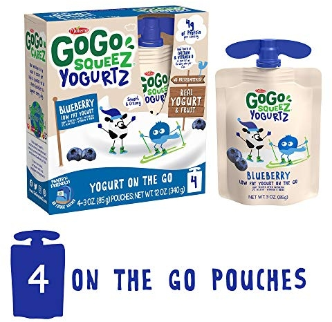 GoGo squeeZ YogurtZ, Blueberry, 3 Ounce (4 Pouches), Low Fat Yogurt, Gluten Free, Pantry-friendly, Recloseable, BPA Free Pouches