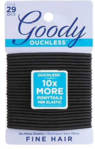 Goody Hair Women's Ouchless 2 mm Hair Elastics, Black, 29 Count