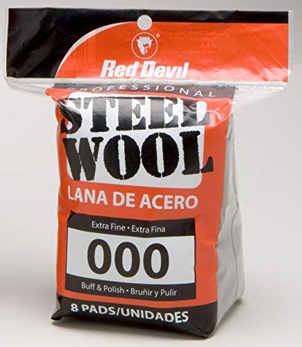 Red Devil 0321 Steel Wool, 000 Extra Fine, (Pack of 8)