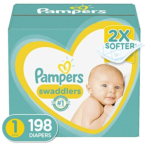 Pampers Swaddlers Size 1 (8-14 lb), 198 Count, Disposable Diapers, ONE MONTH SUPPLY