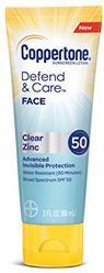 Coppertone Defend & Care Clear Zinc Sunscreen Face Lotion Broad Spectrum SPF 50 (3 Fluid Ounce)