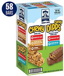 Quaker Chewy & Dipps Granola Bars, 5 Flavor Variety Pack (58 Bars)