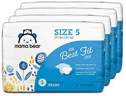 Amazon Brand - Mama Bear Diapers Size 5, 124 Count, Bears Print (4 packs of 31)