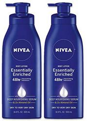 NIVEA Essentially Enriched Body Lotion - 48 Hour Moisture For Dry to Very Dry Skin - 16.9 oz. Pump Bottle (Pack of 2)