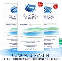 Secret Antiperspirant Deodorant for Women, Clinical Strength Invisible Solid, Sensitive Unscented, 1.6 Oz (Pack of 3)