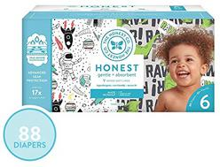 The Honest Company Super Club Box Diapers - Size 6 - Space Travel & T-rex Print | Trueabsorb Technology | Plant-Derived Materials | Hypoallergenic | 88Count