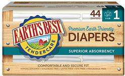 Earth's Best TenderCare Chlorine-Free Disposable Baby Diapers, Size 1 (8-14 lbs), 44 Count (Pack of 4)
