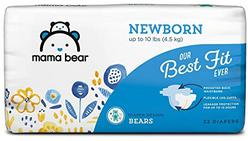 Amazon Brand - Mama Bear Best Fit Diapers, Newborn, 32 Count, Bears Print [Packaging May Vary]