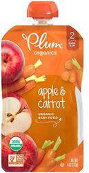 Plum Organics Stage 2, Organic Baby Food, Apple and Carrot, 4 ounce pouches (Pack of 12)