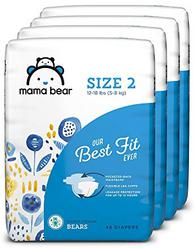 Amazon Brand - Mama Bear Best Fit Diapers Size 2, 184 Count, Bears Print (4 packs of 46) [Packaging May Vary]