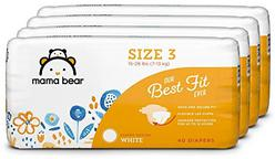 Amazon Brand - Mama Bear Best Fit Diapers Size 3, 160 Count, White Print (4 packs of 40) [Packaging May Vary]