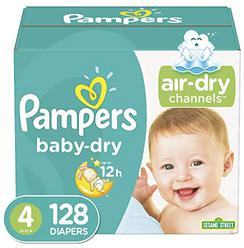 Diapers Size 4, 128 Count - Pampers Baby Dry Disposable Baby Diapers, Giant