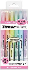 JAVAPEN rainbow pastel Highlighter brush Chisel Tip Pens (Baby colors 6 pens set)