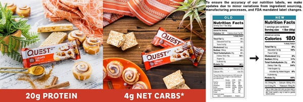 Purchase Quest Nutrition Cinnamon Roll Protein Bar, High Protein, Low Carb, Gluten Free, Keto Friendly, 12 Count on Amazon.com