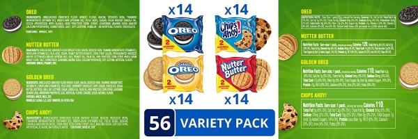 Purchase OREO Original, OREO Golden, CHIPS AHOY! & Nutter Butter Cookie Snacks Variety Pack, 56 Snack Packs (2 Cookies Per Pack) on Amazon.com