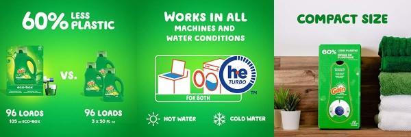 Purchase Gain Liquid Laundry Detergent eco-Box, Original Scent, HE Compatible, 105 fl oz, 96 Loads on Amazon.com
